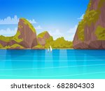 sea landscape beautiful asian... | Shutterstock .eps vector #682804303