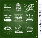 back to school chalked label on ... | Shutterstock .eps vector #682804873