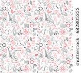 school supplies seamless... | Shutterstock .eps vector #682805323