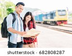 happy young asian couple... | Shutterstock . vector #682808287