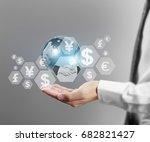 globe  earth in human hand ...   Shutterstock . vector #682821427