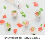 flat lay of cold refreshing... | Shutterstock . vector #682823017
