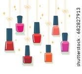 nail polish bottles hanging on... | Shutterstock .eps vector #682827913