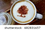 the latte coffee hot with a red ... | Shutterstock . vector #682831657