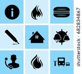 set of 9 mixed icons such as... | Shutterstock .eps vector #682834867