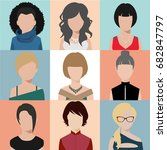 avatar woman icon various hair... | Shutterstock .eps vector #682847797