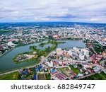 aerial view of countryside and... | Shutterstock . vector #682849747