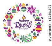 diwali hindu festival greeting... | Shutterstock .eps vector #682861573
