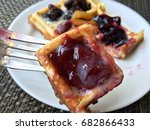 waffle pasty with variety fruit ...   Shutterstock . vector #682866433