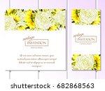 vintage delicate invitation... | Shutterstock . vector #682868563