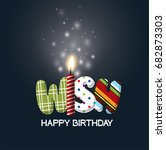 make a wish birthday candle.... | Shutterstock .eps vector #682873303