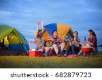 group of camping enjoy playing... | Shutterstock . vector #682879723