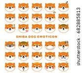 shiba dog face emoticons.... | Shutterstock .eps vector #682885813