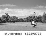 golf equipment and golf bag ... | Shutterstock . vector #682890733
