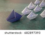 origami paper sailboats ... | Shutterstock . vector #682897393