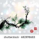 green pine tree branch and... | Shutterstock .eps vector #682898683