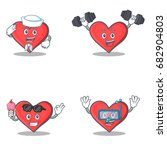 set of heart character with...   Shutterstock .eps vector #682904803