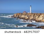 point arena and its lighthouse  ... | Shutterstock . vector #682917037