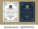 vintage set. greeting card with ... | Shutterstock .eps vector #682923763