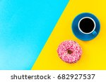 coffee and donut on bright... | Shutterstock . vector #682927537