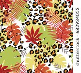 seamless pattern with tropical... | Shutterstock .eps vector #682934053