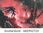 black devil standing on ruins... | Shutterstock . vector #682942723