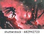 Black Devil Standing On Ruins...