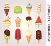 collection of 12 vector cartoon ... | Shutterstock .eps vector #682948537