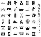 sport adventure icons set.... | Shutterstock .eps vector #682953667