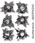 vector black rose set | Shutterstock .eps vector #682954243