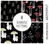set of forest seamless patterns ... | Shutterstock .eps vector #682955917