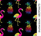 vivid exotic seamless pattern... | Shutterstock .eps vector #682956673
