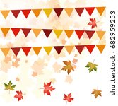 bunting with fall leaf... | Shutterstock .eps vector #682959253