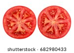 Tomato Slice Isolated On White...