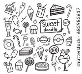 set of doodle hand drawn... | Shutterstock .eps vector #682982617