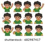 set of african american boy... | Shutterstock .eps vector #682987417
