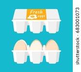 Fresh Eggs Pack Flat Vector