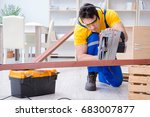 repairman carpenter cutting... | Shutterstock . vector #683007877