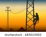 Electrician Climbing The Tower...