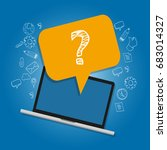 question mark on laptop survey...   Shutterstock .eps vector #683014327