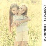 sibling sisters hugging each in ...   Shutterstock . vector #683020027