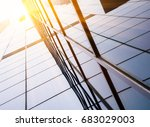 up looking skyscrapers with... | Shutterstock . vector #683029003
