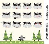 emoticons set face of badger in ... | Shutterstock .eps vector #683029687