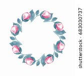 Watercolor Floral Wreath. Hand...