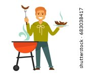 redhead man cooks delicious... | Shutterstock .eps vector #683038417