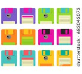 retro floppy disks in white... | Shutterstock .eps vector #683043073