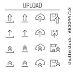 set of upload icons in modern... | Shutterstock .eps vector #683044753