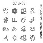 set of science icons in modern... | Shutterstock .eps vector #683044813
