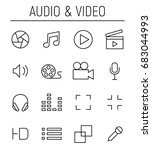 set of multimedia icons in... | Shutterstock .eps vector #683044993