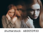 angry teenage girl holding her... | Shutterstock . vector #683053933